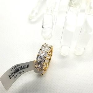 Princess cut Cubic zirconia gold toned eternity ring  size 5